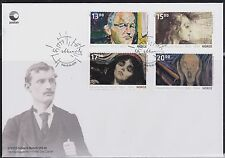 2013 Norway FDC Edvard Munch 150th Anniv.  Paintings, The Scream NK 1837-40