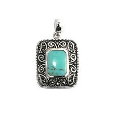 Marcasite Pendant Sterling Silver 925 Vintage Style Jewelry Turquoise 34 mm