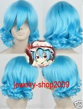 New wig Cosplay Project Short Light Blue Curly Heat Resistant Wig