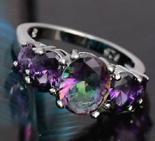 SILVER, PLATINUM PLATED CZ MYSTIC TOPAZ & AMETHYST OVAL RING. SIZE: O, Q