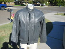 Vintage FOXRUN Fox Run Gray Leather Jacket Cafe Motorcycle Casual  Mens Sz 38