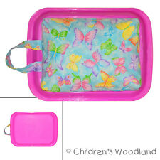ART TRAVEL LAP DESK! BUTTERFLY! KID PLASTIC TRAY~COLORING~GIRL~BUTTERFLIES~BUGS