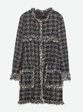 ZARA HOUNDSTOOTH BOUCLE TWEED JACKET COAT SOLD OUT BLOGGERS FAVOURITE SIZE XS
