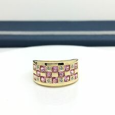 10k Yellow Gold Pink Sapphire Diamond Ring Wide Band September Birthstone