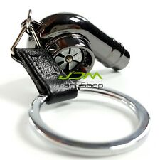TURBO BEARING KEYCHAIN METAL WHISTLE KEY RING/CHAIN BOOSTED SPOOLING  black 4u