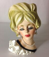 LADY HEAD VASE LASHES RUFFLE DRESS BLONDE RED LIPS PEARLS FIGURE 1950s JAPAN 7""