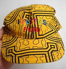 IQUITOS PERU YELLOW & BLACK ADJUSTABLE HAT CAP, VERY CLEAN USED, NO TAGS/INFO