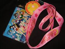 Sailor Moon Pink Lanyard ID Card Pin Holder Rubber Charm Japanese Anime Cartoon