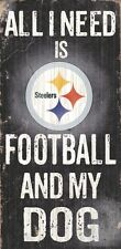 Pittsburgh Steelers Football and Dog Wood Sign [NEW] NCAA Man Cave Den Wall