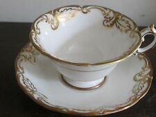 Vintage Paragon England By Appointment Tea Cup And Saucer White Gold Mint