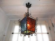 French  ceiling light lantern gorgeous 4 glass panels charming vintage