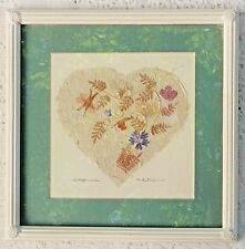 "FRAMED ARTWORK MIXED MEDIA TITLED ""WILDFLOWERS"" - ARTIST SIGNED 1990 - 11"" X 11"""