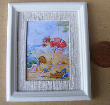 1:12 Framed Picture (Print) Of A Beach Scene Dolls House Miniature Painting