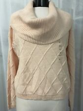 Guess Pink Ivory Wide Turtleneck Pullover Women's Sweater Size XL NWT $80