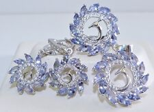 GENUINE 11.76tcw Tanzanite Peacock Set Ring/Earrings/Pendant, Solid S/Silver 925