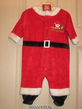 Carters Baby My First Christmas Sleeper Velour Santa Suit Footed 0-3 Months NWT