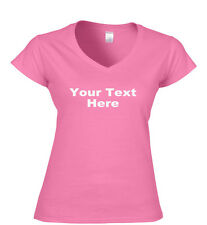 Your Text Here Custom Printed Ladies Fit T Shirt, Ladies V Neck T Shirts,S -XXL