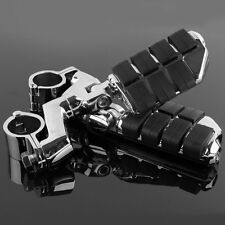"""Longhorn Highway Foot Pegs 1"""" 25mm Mount Clamps For Harley Honda Goldwing Yamaha"""