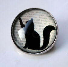 ZPs2 Unusual Domed Black Cat silhouette Pin Badge Brooch Cabochon