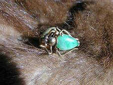 IMPERIAL APPLE GREEN JADE 14K GOLD INSECT BEETLE SCARAB TIE TAC LAPEL STICK PIN