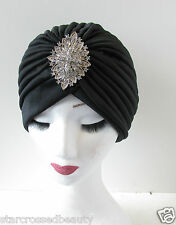 Black & Silver Turbante Vintage Flapper 1920s 1930s casco Diamante Downton Q21