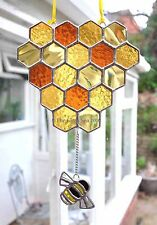 Honeycomb And Bumble Bee Stained Glass Art Suncatcher Beekeeping -The Glass Sea