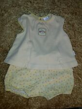 CARTER'S KIDS GIRLS' 0-3 MONTHS TOP AND DIAPER COVER SET EUC FLORAL 100% COTTON