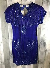 STENAY Vintage Beaded Sequin Silk Gown Cobalt Blue Short Sleeve Dress Women's 6