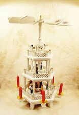 3 Tier Christmas Angel Shepherd Nativity Pyramid White Painted Wood Red Candles