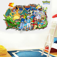 Hot 3D Pokemon Go Cute Pikachu Wall Decals Sticker Vinyl Mural Kids Room Decor