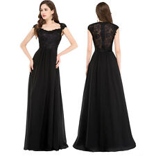 PLUS SIZE Black Long Prom Dresses WEDDING Formal Masquerade Evening Ball Gowns