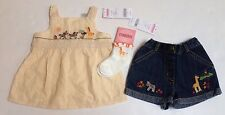 NWT Gymboree Savanna Sunset 6-12 Gold Metallic Stripe Animal Top & Denim Shorts