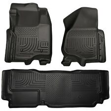 2012 2013 F-250 350 Super Duty Husky WeatherBeater Front & 2nd Row Floor Liners
