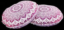 2 PC Ombre Mandala Round Floor Pillow Cushion Vintage Indian Foot Stool Bean Bag