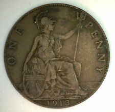 1913 Bronze One Pence UK One Penny Great Britain Coin YG