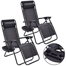 2PC Zero Gravity Chairs Lounge Patio Folding Recliner Outdoor Black W/Cup H