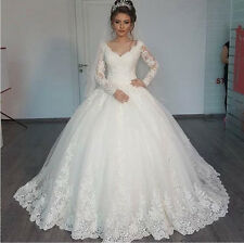 Robe Mariage Ball Gown Long Sleeve Wedding Dress with Lace Sequins Wedding Gowns