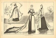 Winter Toilettes, Victorian Ladies Fashion, Cloak Vintage 1890 Antique Art Print