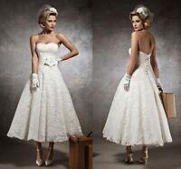 New Stock White/Ivory Lace Tea Length Sweetheart Wedding Dresses Size 6-16