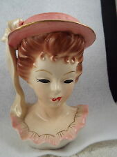 Vintage JAPAN Pink Hat & Ruffle Lady Head Vase (D19)