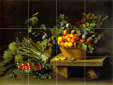 17 x 12.75 Art Fruits Plums Ceramic Mural Backsplash Tile #844