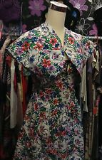 40s Divine Original Vibrant Floral Linen Dress with Curved Matching Bolero