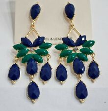 new stunning gold tone acrylic high quality blue color post dangle earrings 12mj