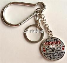 Nursing Gift Silver Enamel Keychain Zipper Purse Tag Charm Nurses RN LPN CNA USA