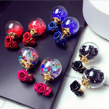 Fashion Womens Double Sides Rose Crystal Ball Ear Stud Earrings Jewelry Gift