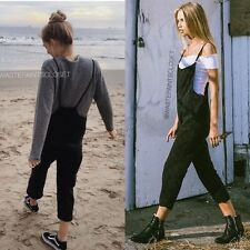 NEW! Brandy Melville black wash light weight stretchy Jade Overalls NWT sz S/M