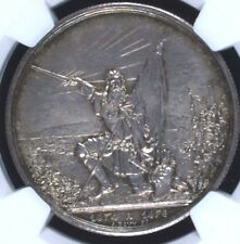 Swiss 1874 Silver Medal Shooting Taler 5 Francs St Gallen R-1156a NGC MS64