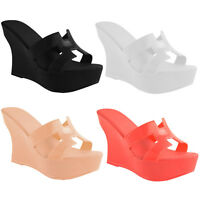 WOMENS LADIES WEDGE JELLY SANDALS STRAPPY HIGH HEEL PLATFORM PEEP TOE SHOES SIZE