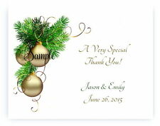 100 Personalized Custom Gold Christmas Bulb Wedding Bridal Thank You Cards