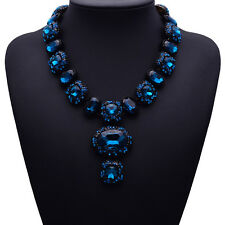 STUNNING ZARA SPARKLING ROYAL BLUE STONES STATEMENT NECKLACE NEW